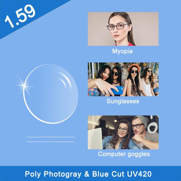 Professional 1.59 PC polycarbonate photochromic hmc lenses