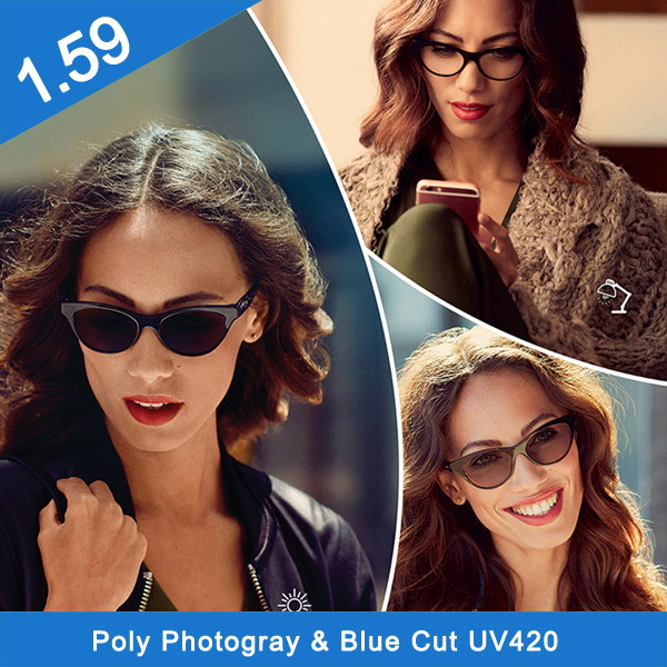 PC photo gray polycarbonate hc optical lens