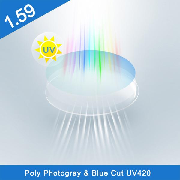 1.59 pc polycarbonate photochromic hmc optical lens