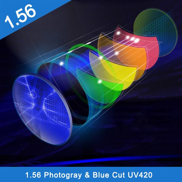 1.56 photochromic photo gray brown green coating hmc glass lens for sunglass
