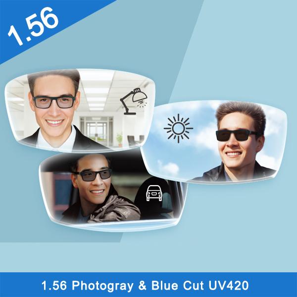 Popular 1.56 transition photochromic blue block hmc coating optical lens