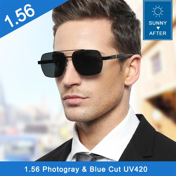 Manufacturer 1.56 photo grey anti reflective photochromic pgx hmc optical lens for summer