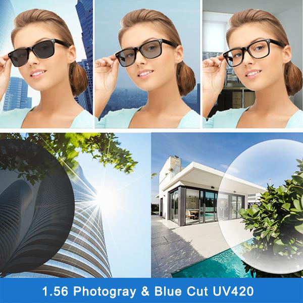 山東レンズメーカーのホットセール1.56写真hmcシングルビジョンレンズ